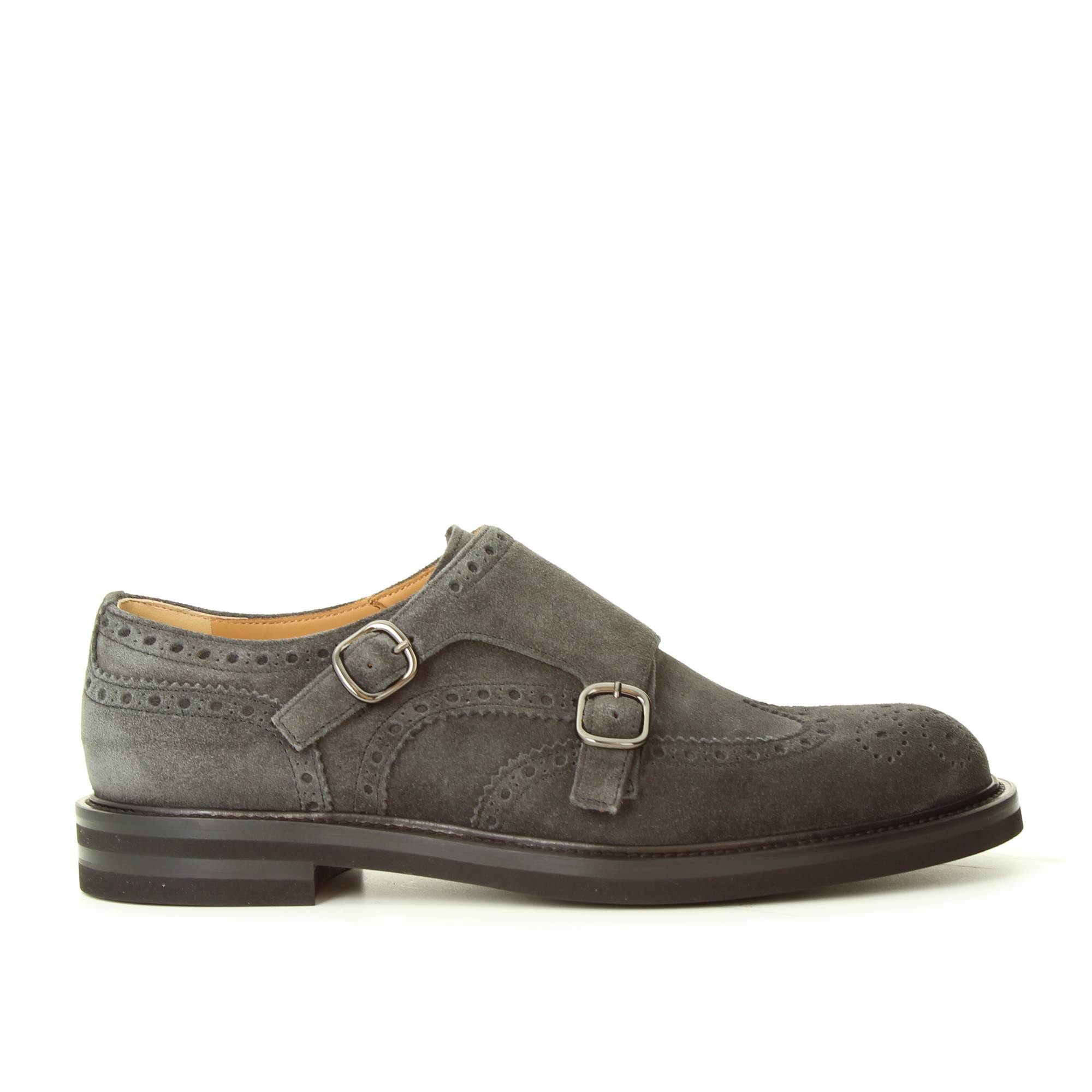 LANCIOTTI DE VERZI 1016RM ANTRACITE Shoes Man DOUBLE BUCKLE