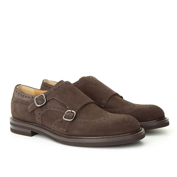 LANCIOTTI DE VERZI DOUBLE BUCKLE suede_velour brown